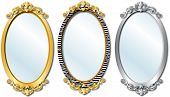 pic of cheval  - Vector Illustration of three different elegant oval shaped mirrors - JPG