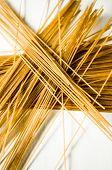stock photo of whole-grain  - Whole grain raw pasta spaghetti - JPG