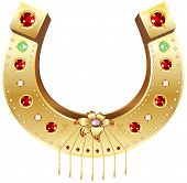 picture of precious stone  - Golden Horseshoe decorated with precious stones and flowers - JPG