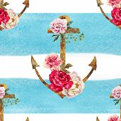 stock photo of anchor  - Beautiful vector pattern with nice watercolor anchors - JPG