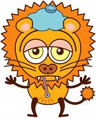 Cute lion with an ice pack and a thermometer feeling sad and sick poster