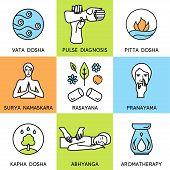 Set linear icons for ayurveda design.