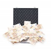 image of fifties  - Suitcase full of fifty euro bank note bills isolated over the white background - JPG