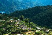 image of ifugao  - Village houses near rice terraces fields - JPG