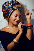 image of racy  - beauty bright african american woman with creative make up - JPG
