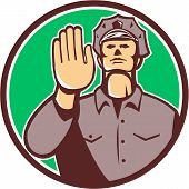 image of policeman  - Illustration of a traffic policeman police officer holding hand up stop sign set viewed from front inside circle done in retro style on isolated background - JPG