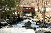 picture of early spring  - A red covered bridge at Southford Falls in Oxford Connecticut in early spring. ** Note: Soft Focus at 100%, best at smaller sizes - JPG