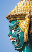 pic of guardian  - Face of Guardian statue at Temple of the Emerald Buddha - JPG