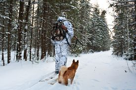 foto of hunter  - hunter on the skis on winter hunting - JPG