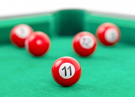picture of snooker  - Snooker balls on a green snooker table - JPG