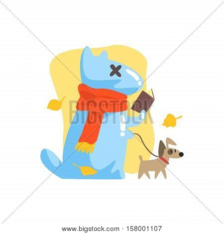 Blue Jelly Zombie Dog Monster Walking A Small Pet And Reading Book Under Falling Yellow Leaves Outdoors In Autumn Season. Part Of Autumn Fantastic Animal Creatures Set Of Funny Cartoon Vector Illustrations
