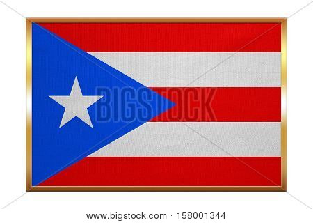 Puerto Rican national official flag. Patriotic symbol banner element background. Correct colors. Flag of Puerto Rico golden frame fabric texture illustration. Accurate size color