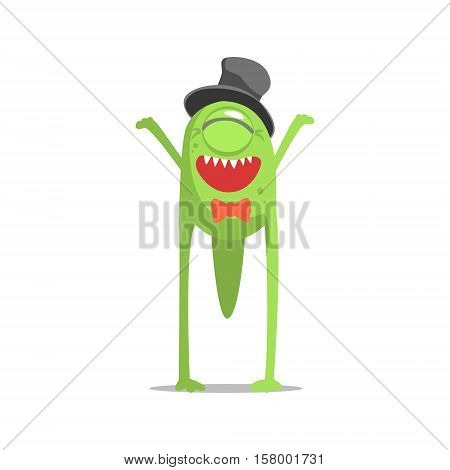 Happy Green One-Eyed Monster In Top Hat And Bow Tie Partying Hard As A Guest At Glamorous Posh Party Vector Illustration Part Of The Funny Alien Animal Cartoon Characters At The Celebration Collection.