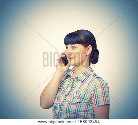 Brunette Girl Talking On Mobile Phone Isolated
