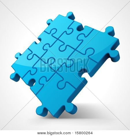 Blue puzzle 3d pie vector illustration. Eps 10.