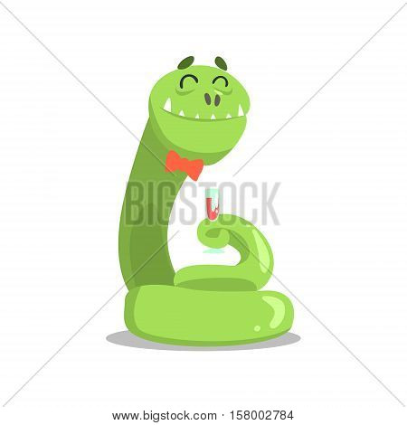 Giant Green Boa Snale In Bow Tie Drnking Wine Partying Hard As A Guest At Glamorous Posh Party Vector Illustration Part Of The Funny Alien Animal Cartoon Characters At The Celebration Collection.