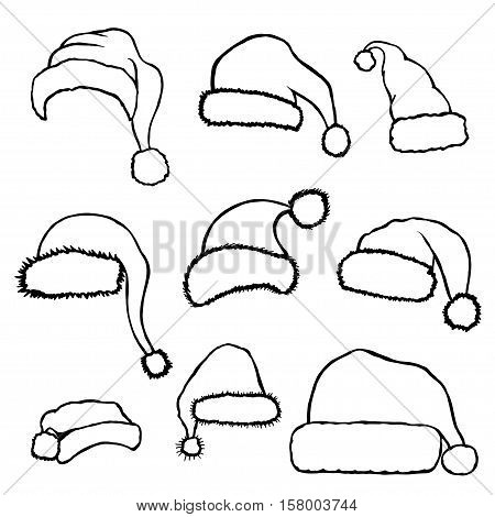 Set of monochrome doodle hats Santa Claus. Template Christmas hat for design, decorating cards and collages.