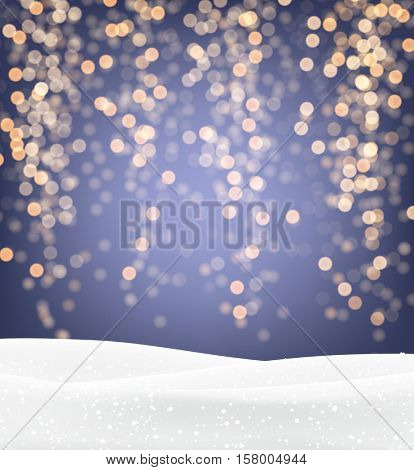Festive purple and golden luminous background with snow. Vector illustration.