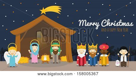 Christmas nativity scene with holy family the three wise men and star of Bethlehem Vector background