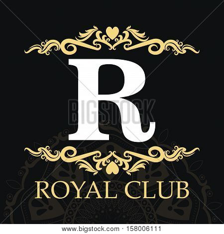 Royal club and ornament icon. Exclusive rich glamour and member and decoration theme. Vector illustration