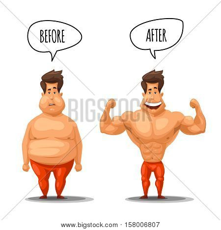Weight loss. Man before and after diet vector illustration. Man weight loss, muscular guy after lose weight