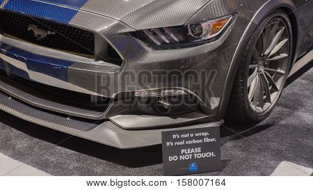 LAS VEGAS NV/USA - NOVEMBER 3 2016: 2016 Ford Mustang car with carbon fiber body panels at the Specialty Equipment Market Association (SEMA) 50th Anniversary auto trade show.