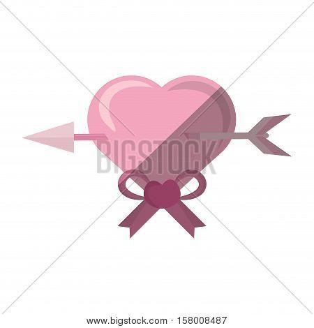 cute heart arrow pink bow icon vector illustration eps 10
