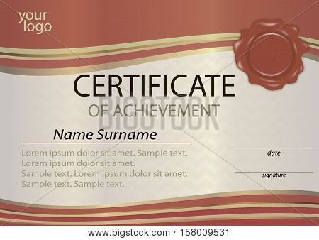Certificate or diploma template with wax seal. Winning the competition. Award winner. Vector illustration.