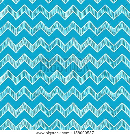 blue seamless pattern of zigzag parallel lines. Vector illustration in ink hand drawn style.