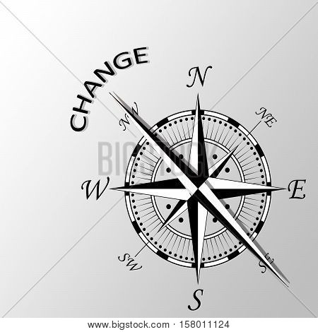 Illustration of change written aside a compass
