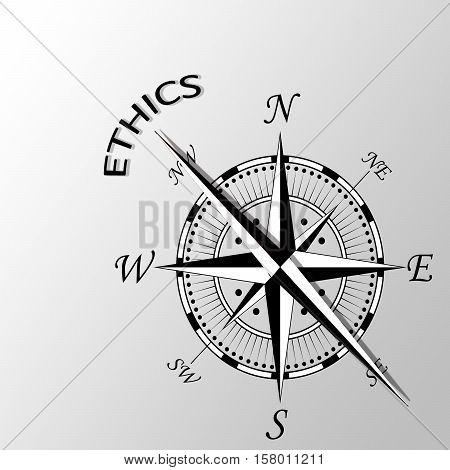 Illustration of ethics written aside a compass