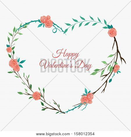 heart shaped floral wreath with roses, watercolor wreath with pink roses, Valentine day card