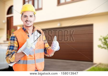 Handsome Constructor Doing Thumb Up Gesture