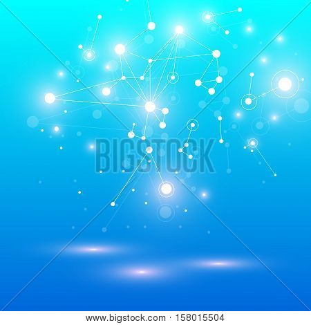 Geometric graphic background molecule and communication. Big data complex with compounds. Perspective backdrop. Minimal array Big data. Digital data visualization. Scientific vector illustration