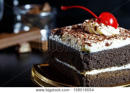 Food cake chocolate ready for serving cake chocolate on dark style cake chocolate with good cocoa and look luxury cake sweet and sugar ready for celebrate.