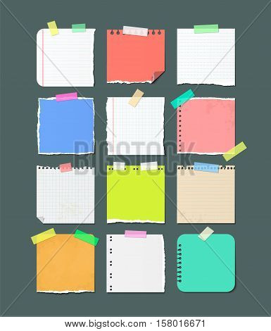 Paper banners for notes. Pieces of torn checkered and color paper sheets attached with sticky tape isolated vector illustrations set. Notebook, copybook pages used as stickers on adhesive tape
