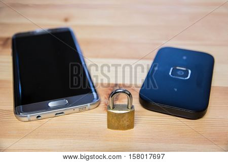 phone and pocket wifi secure private confidential connection for internet use