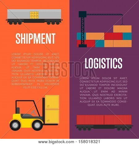 Logistics and shipment banner set vector illustration. Shipment template with forklift truck loading boxes. Logistic concept with cargo crane loading container. Delivery service, shipping and storage