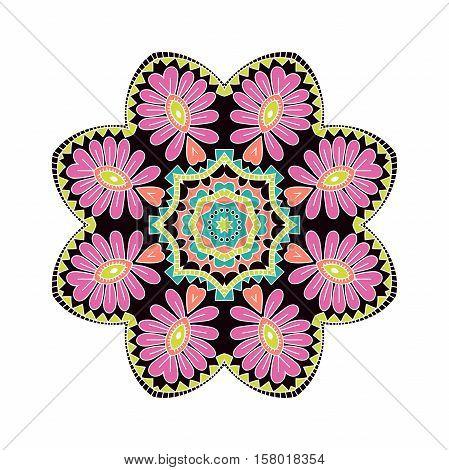 Circular background. Oriental pattern illustration. Flower circular background. Stylized mandala. Beautiful ethnic, oriental background. Stylized lace ornament. Beautiful bright pink big bud. Vintage.