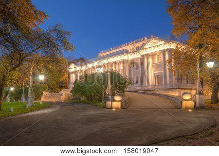 St. Petersburg Russia - October 3 2016: Night view of illuminated Yelagin Palace in autumn