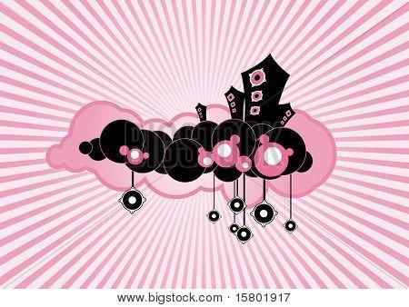 Black floating loudspeakers on pink background.
