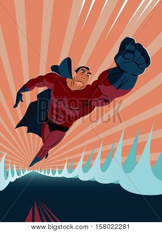 Superhero Flying Above The Water. Strives Height.