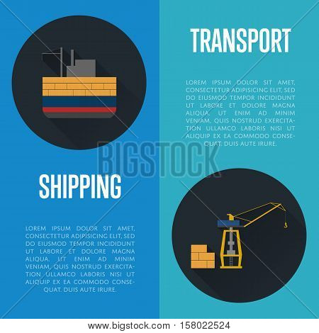 Shipping and transport banners with cargo ship vector illustration. Freight crane and cargo vessel icons. Industrial freight harbor, container terminal, transportation and logistics, maritime shipping