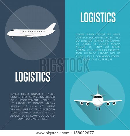 Logistics banners vector illustration. Jet airplane with long shadow round icon. Worldwide logistics, delivery transportation, global commercial airlines, shipping company, import and export business