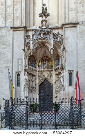 Portal of Maria am Gestade church in Vienna Austria
