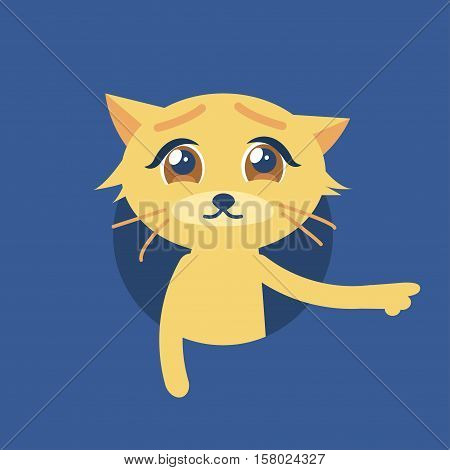 Isolated vector illustration of the cute cat with sad eyes. Flat style icon. The cat shows its paw to the right. Compassionate glance. Image is out of circle range.