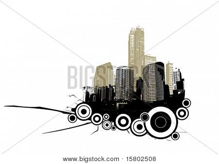 Retro city with circles. Vector art