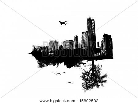City vs Nature. Vector art.