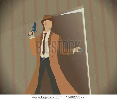 Detective opening a door while holding revolver. Noir style colored illustration. Eps 10 stock vector.