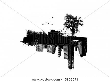 Nature versus City. Vector art.